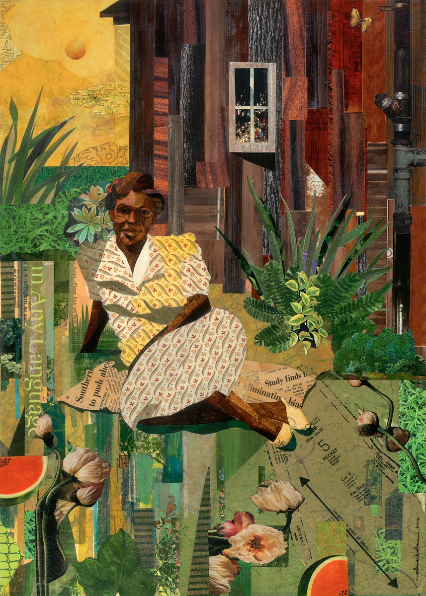 Ekua Holmes, contemporary US artist known for her mixed media collages often evoking her childhood in Roxburys Washington Park neighbourhood in Boston, MA #womensart