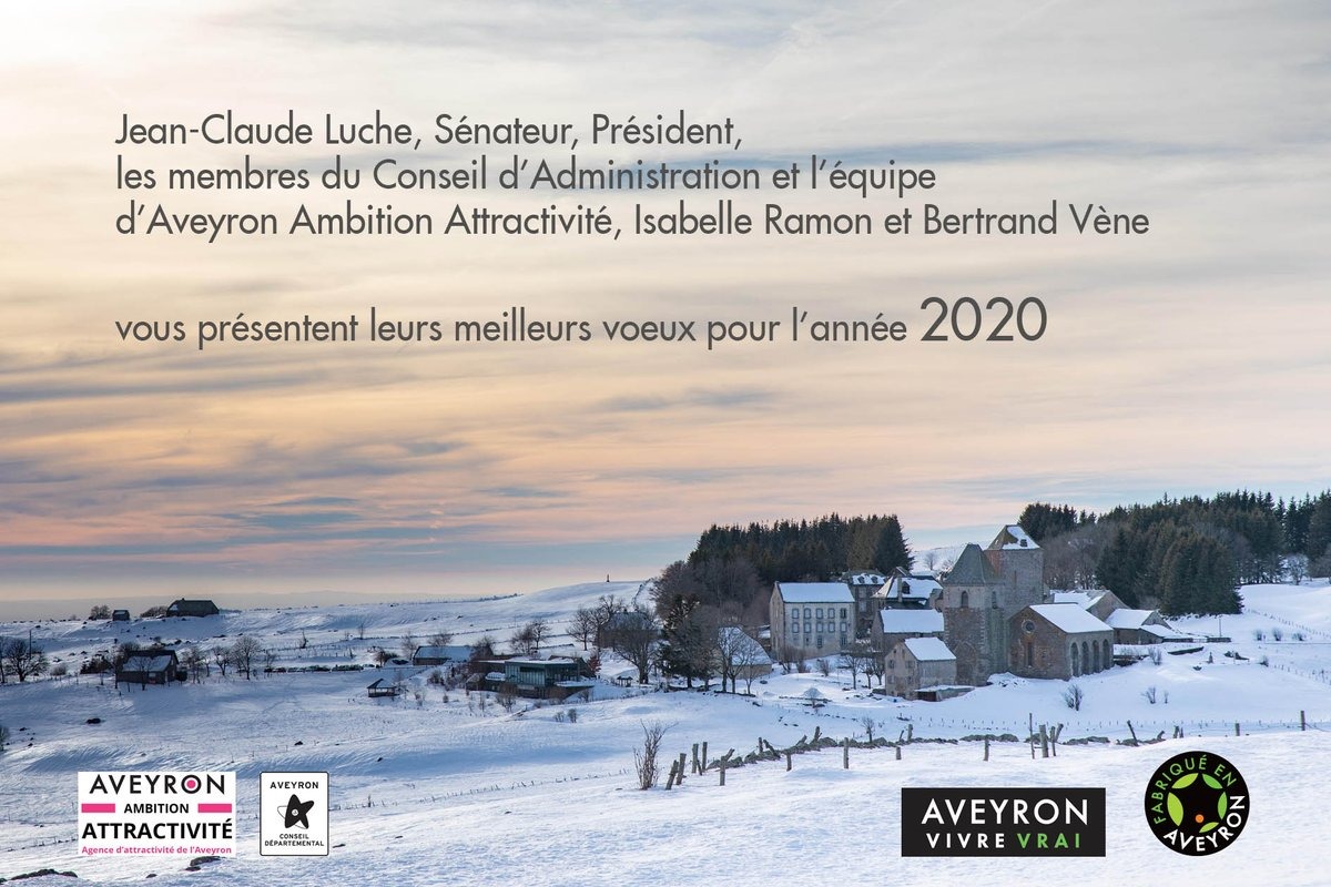 Bonne année 2020 placée sous le signe de l'attractivité  ! Faites le choix de l'Aveyron #aveyronvivrevrai #fabriqueenaveyronpic.twitter.com/IOSMq3YJZ1