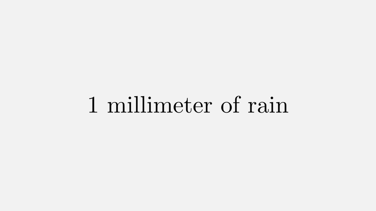 1 millimeter (mm) of rain means that in that region each square millimeter has received one cubic millimeter of rain. 1 mm³/1 mm² = 1 mm