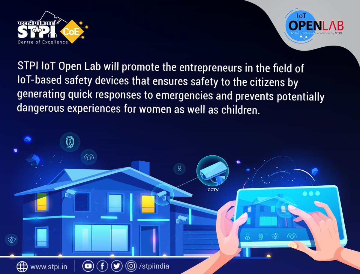 #STPIIoTOpenLab is poised to nurture #startups by focusing on #RnD & #IP creation in #IoT domain, while addressing the societal challenges like building smart security solutions for citizens. Do you want to be part of this journey? Apply now.  http://www. iotopenlab.stpi.in/index.php/auto -draft/  … . #STPICoEs<br>http://pic.twitter.com/MXss4UudYo