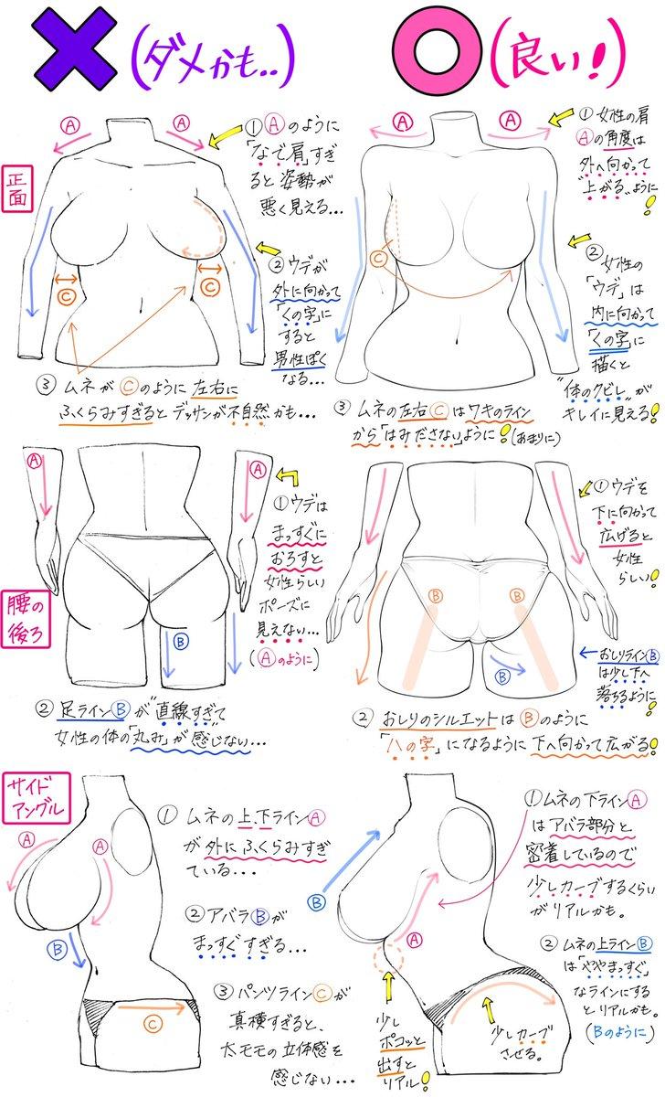 【女性の描き方】👩🏻  ✨美しい身体ラインが上達する✨  「ダメかも❌」と「良いかも⭕️」 https://t.co/bF2334Ntxl