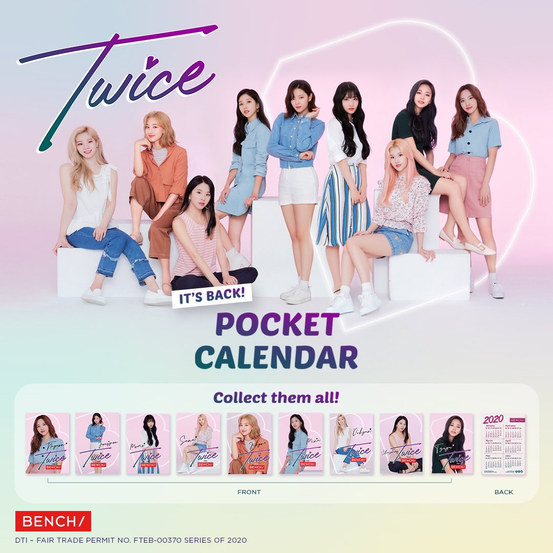 Cheer up, onces! #TwiceForBENCH collectible calendars are back in select @benchtm stores tomorrow 'til Jan 14  Swipe for full mechanics + list of participating stores  Hurry and drop by to your nearest participating store before it's too late! #TWICExBENCH #BENCHHoliday2019<br>http://pic.twitter.com/0LVHCsG8Hb