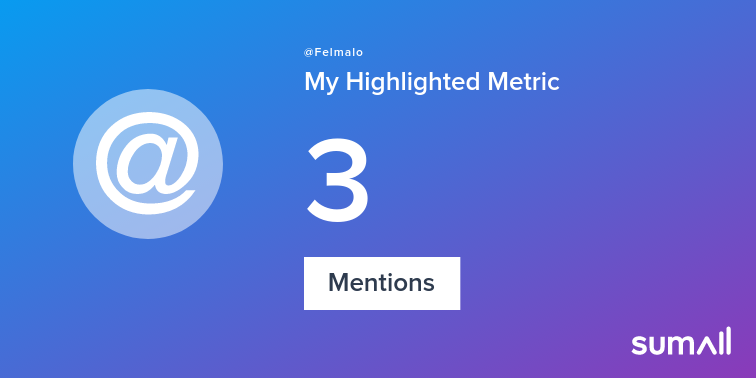 My week on Twitter 🎉: 3 Mentions, 1 Like. See yours with sumall.com/performancetwe…