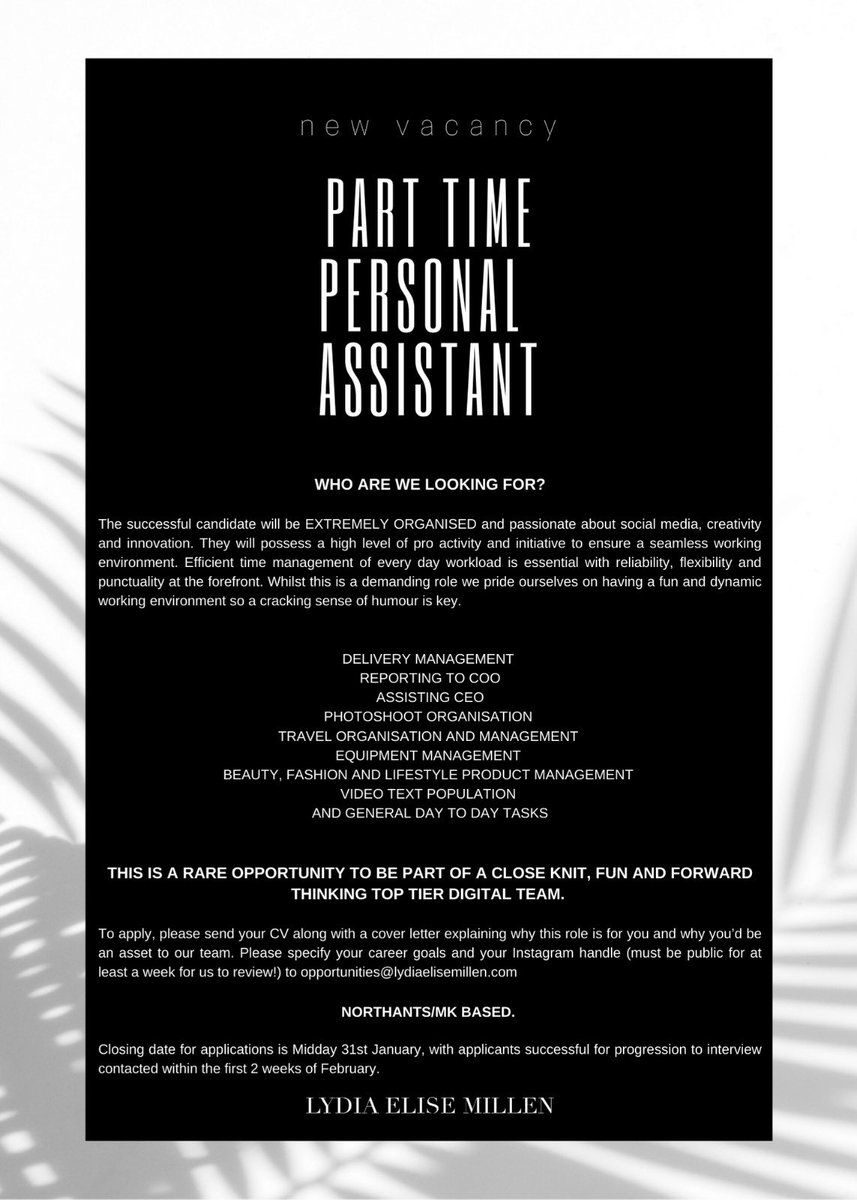 Lydia On Twitter We Are Recruiting For A Part Time PA And