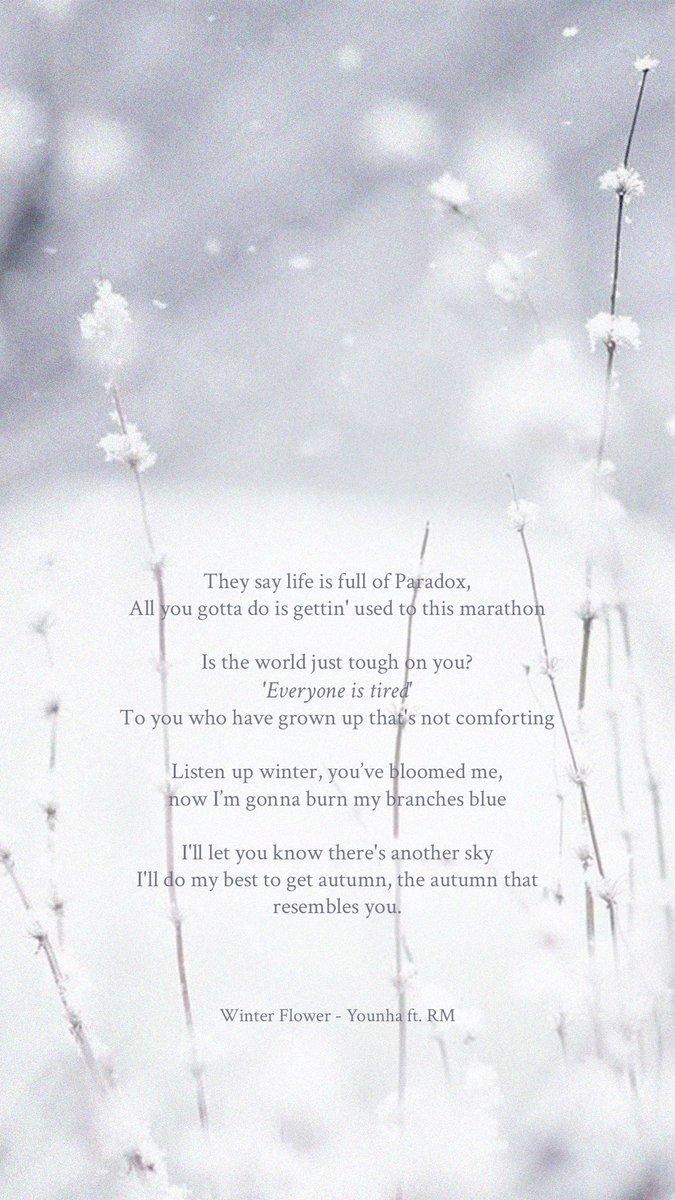 bts lyrics ⁷ on you re bloom me winter flower younha