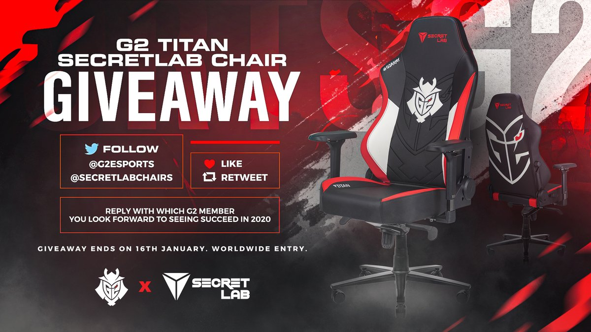 What better way to start a partnership than with a giveaway? 😏  ✅ Follow @G2Esports and @secretlabchairs    ❤ 🔁 Like and Retweet this tweet  🗨 Comment which G2 member you want to succeed in 2020! https://t.co/Ioc3JrdLIP