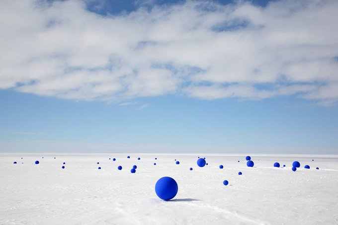 Artist Lita Albuquerques work questions our place in the enormity of space and time. Stellar Axis: Antarctica sees the placement of blue spheres corresponding to the location of 99 stars in the Antarctic sky #womensart