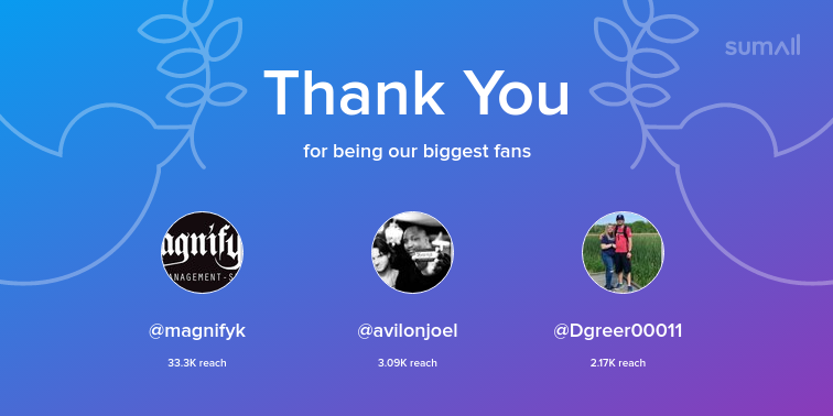 Our biggest fans this week: magnifyk, avilonjoel, Dgreer00011. Thank you! via sumall.com/thankyou?utm_s…