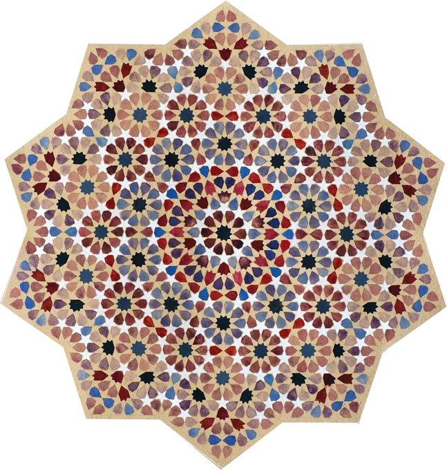 Pomegranate, 2004, Hand ground watercolour on khadi paper by Zarah Hussain, artist who creates mathematically precise, geometric art inspired by Islamic Geometry #womensart