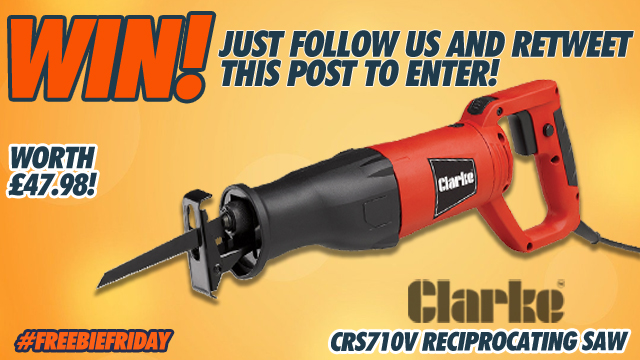 It's time for another #FreebieFriday and this week, we are giving away a brilliant Clarke CRS710V Reciprocating Saw!   For a chance to #win this great prize, simply follow us and retweet this post.  #Competition ends Monday 13.01.2020. T's & C's apply:  https:// bit.ly/2T3PcUR     <br>http://pic.twitter.com/fcf2GPmfPo