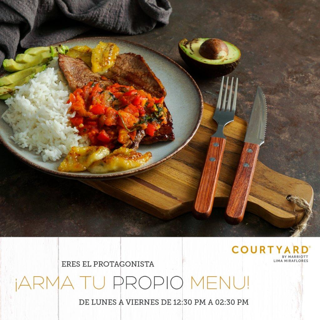 ¡Arma tu propio menú en el #Bistro400 del #CourtyardMiraflores de lunes a viernes de 12:30 pm a 2:30 pm a S/25.00! Elije entre 1 proteína, dos guarniciones y 1 salsa para crear tu menú ideal  Conoce nuestras opciones: https://t.co/7SsKBtxgQb https://t.co/9jKG9QxhHV