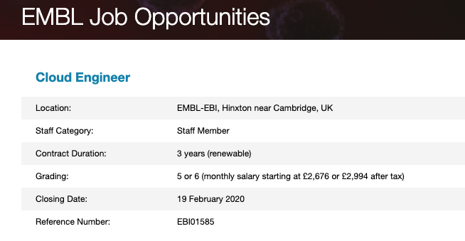 Closing: Are you a #computerscientist with an interest in #cloudinfrastructure? @emblebi are #hiring a #CloudEngineer to innovate and support cutting edge #cloudcomputing. #computersciencejobs #cloudjobs #linux #openstax #technologyjobs https://www.embl.de/jobs/searchjobs/index.php?ref=EBI01585 …pic.twitter.com/ixQCEO6ing