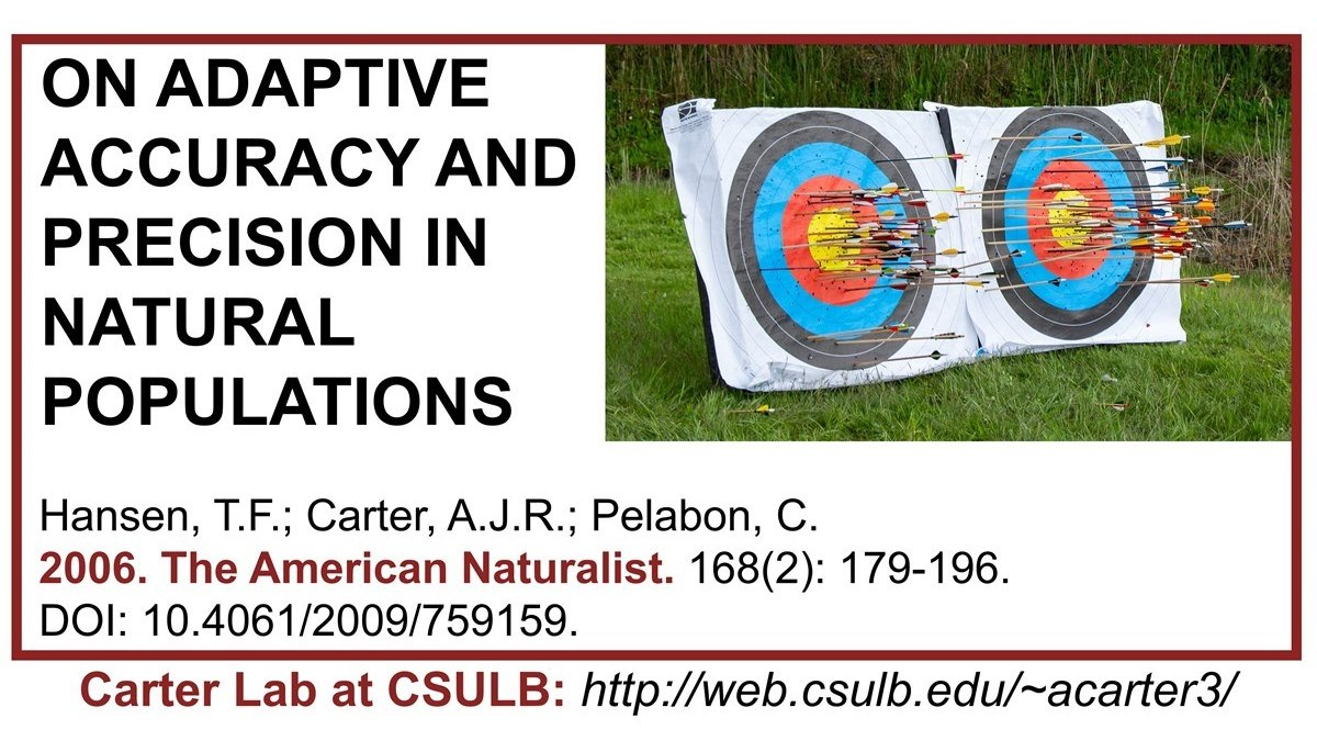 Carter Lab publication: On adaptive accuracy and precision in natural populations. FA data suggesting natural selection to improve developmental precision is important.  #Carterlab #FA #fluctuatingasymmetry #developmentalstability #evolution #evolvability