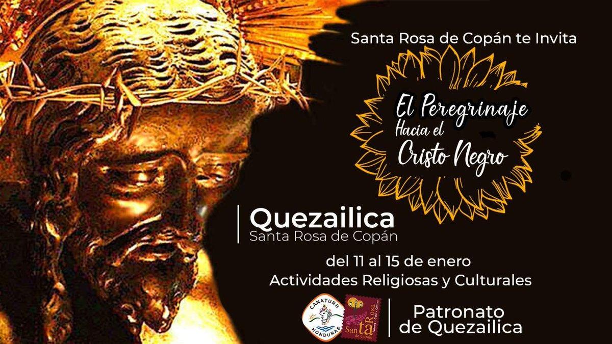 Te compartimos la invitación de la ciudad de Santa Rosa de Copán Oficial para la peregrinación a las festividades del Cristo Negro de Quezailica del 11 al 15 de enero, acompañado de actividades religiosas y culturales! #VisitHonduras
