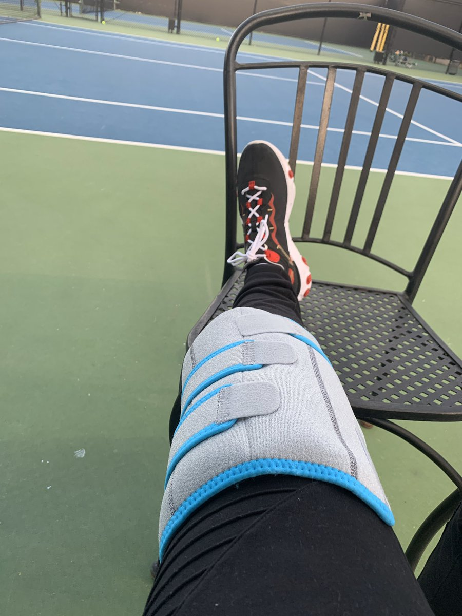 My happy place, 2 weeks after knee replacement surgery, no hitting, but coaching with my ice pak! Being a good patient!