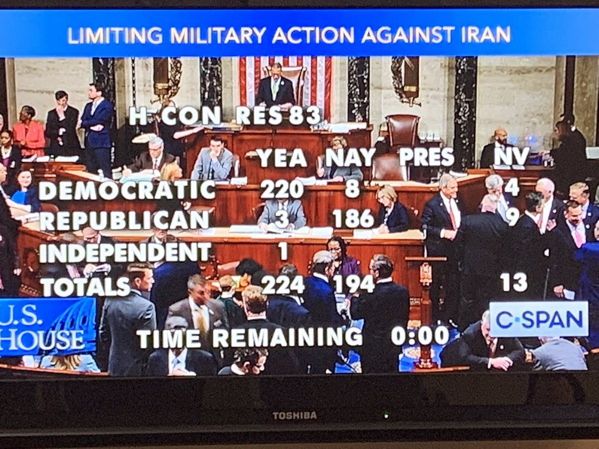 There is the vote on war powers in House: