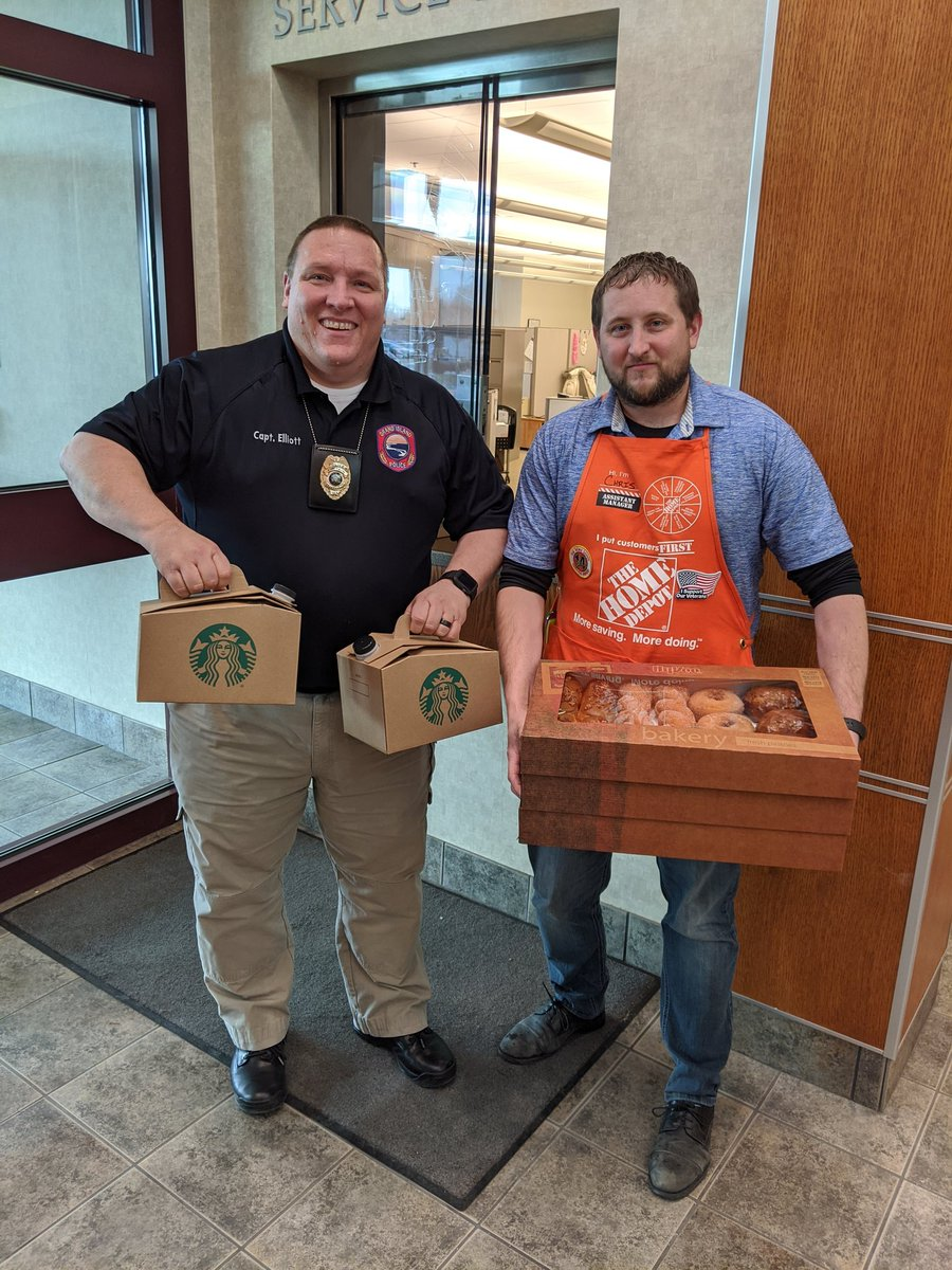 And the love just keeps coming!  Thanks to @HomeDepot for the coffee and donuts to keep us going after this morning's carb overload.  #LawEnforcementAppreciationDay #TreadmillTime <br>http://pic.twitter.com/da2Lu0ZqPb