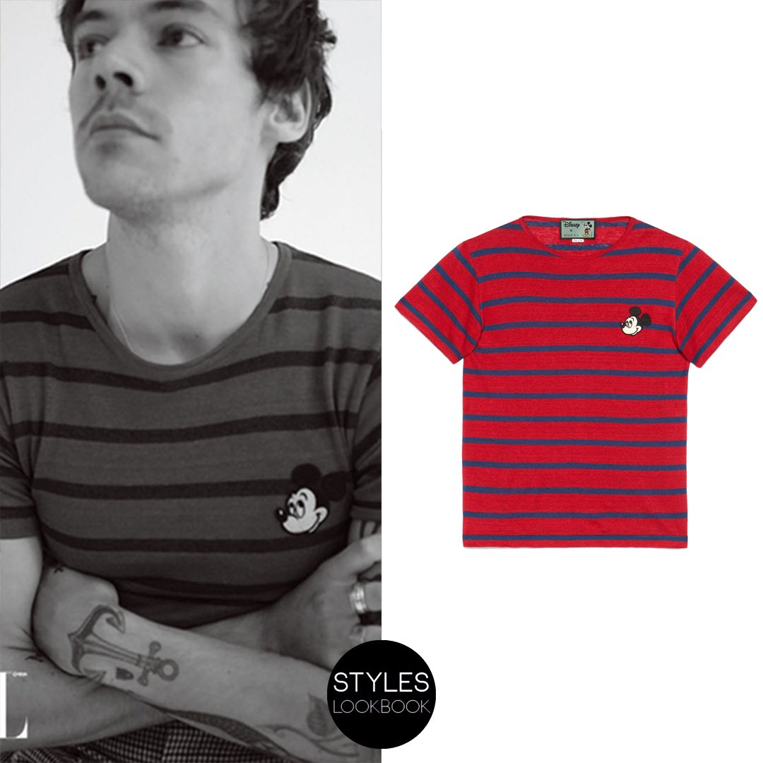 In this shot for L'Officiel Hommes, Harry is wearing a #Gucci linen T-shirt ($690) with an embroidered Mickey Mouse patch from the Resort 2020 collection. https://styleslookbook.com/post/190165062347/styleslookbook-in-this-shot-for-lofficiel …   Daniyel Lowdenpic.twitter.com/pdkXsOQAYx