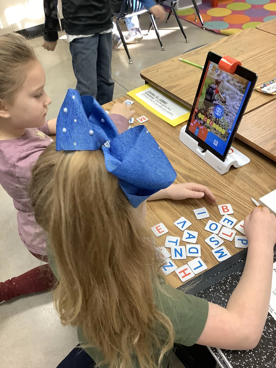 2nd graders, Brooklyn and Bryleigh, working in literacy centers with the Osmo! #lovelearngrow