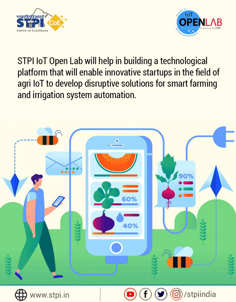 #STPIIoTOpenLab will help nurturing startups focused on #AgriIoT while encouraging smart farming, which will ensure data-driven farming across the crop cycle enabling farmers get higher yield. If you are a startup in this domain, apply now:  http://www. iotopenlab.stpi.in/index.php/auto -draft/  … . #STPICoEs<br>http://pic.twitter.com/J0Kast8phX