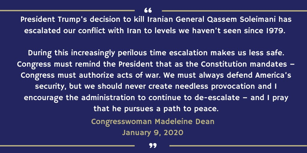 Tonight, I voted to terminate the use of the US Military in hostilities against Iran without Congressional Authorization -- as our constitution mandates. My statement on the War Powers Resolution⬇️