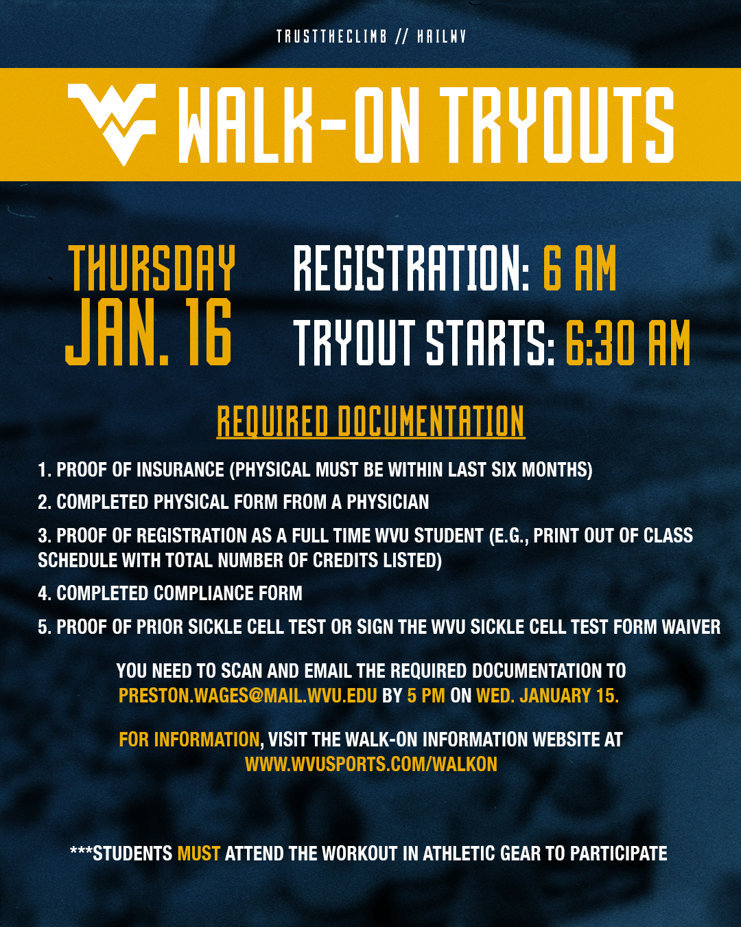 Wvu Football On Twitter Walk On Tryouts Coming January 16 Visit