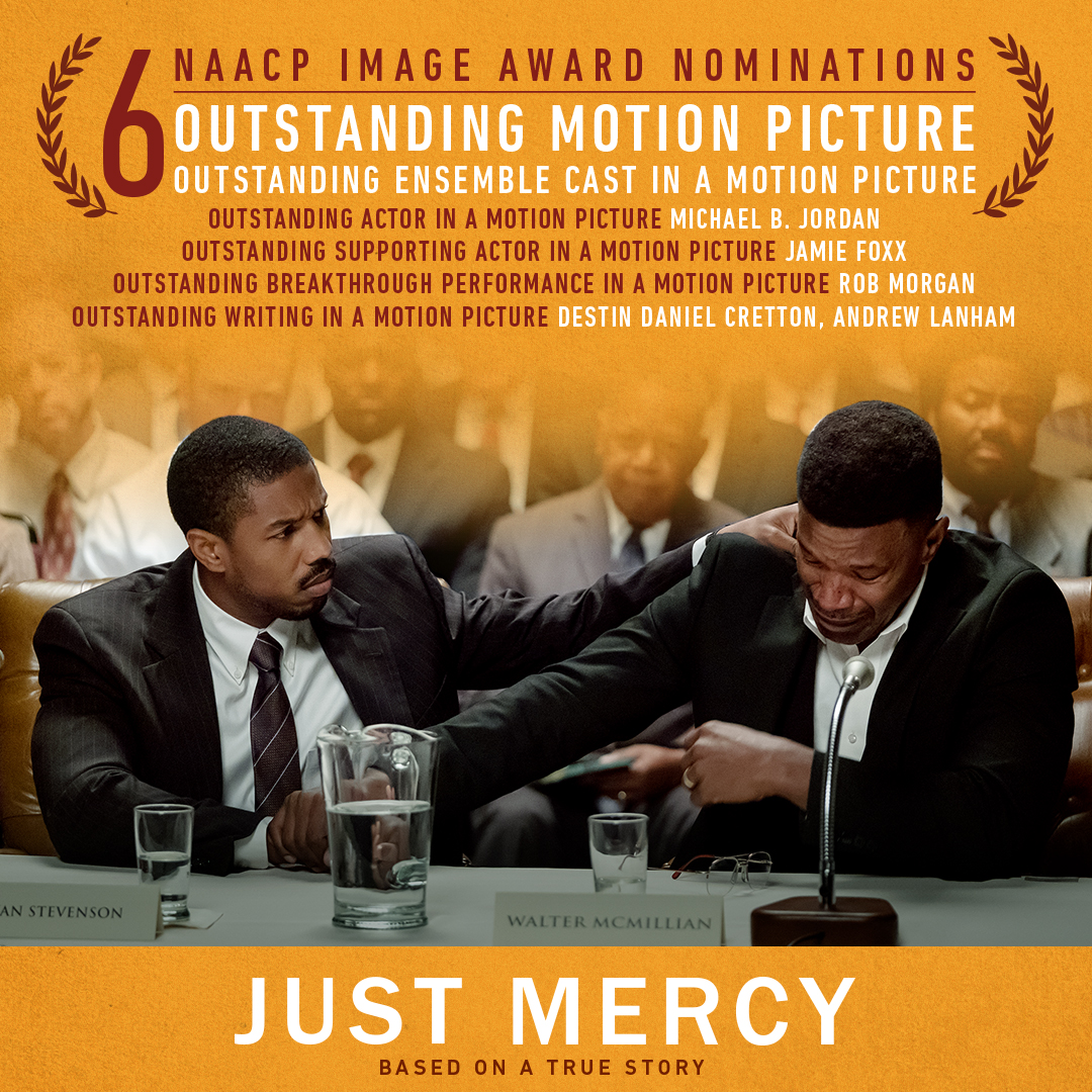 Such an honor to receive six nominations at the #NAACPImageAwards for #JustMercy! Congrats to our entire cast and crew!