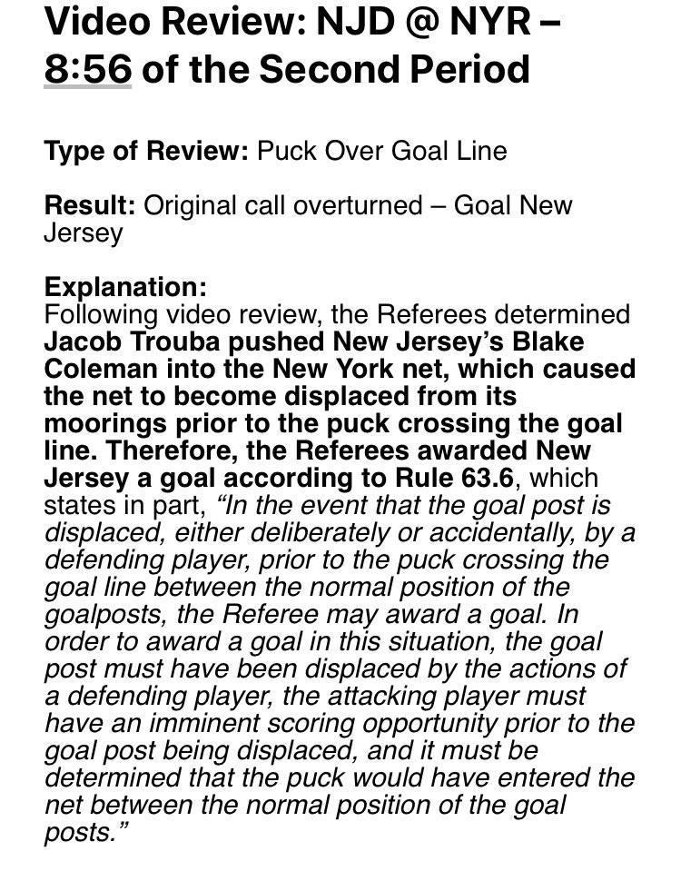 Why the Devils third goal tonight was a goal: