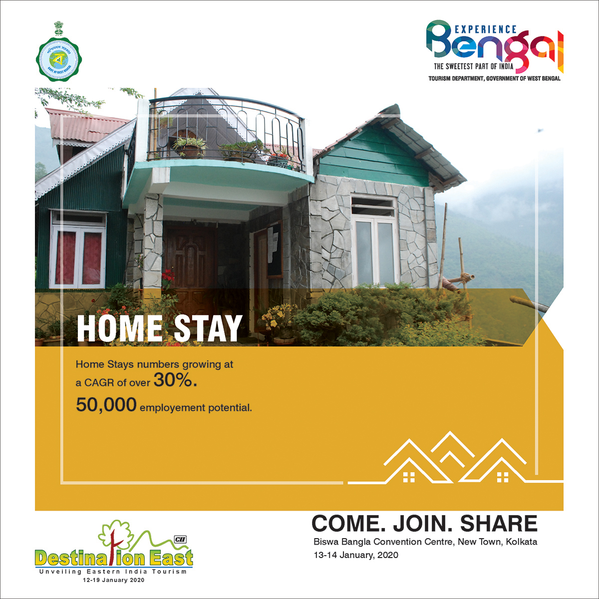 Feel the warmth of home stays in Bengal with #DestinationEast, jointly conducted by the Dept. of Tourism, Govt. of WB and @FollowCII.  Dates: 13th-14th Jan, 2020 Venue: BBCC, New Town  To experience Bengal, visit us at http://bit.ly/2QY6sYU   #BengalTourism #ExperienceBengalpic.twitter.com/zXTNWka8i3
