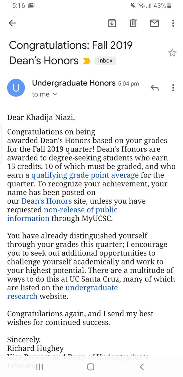 Khadija Niazi On Twitter Ayy Made Ucsc S Deans Honor List Https T Co Yvvkrbeygd