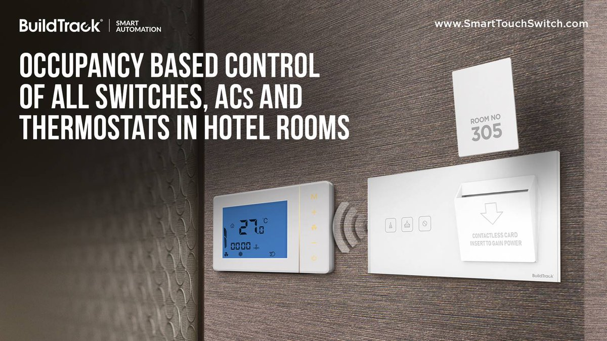 Control the hotel room Switches, ACs and other assets based on motion sensed https://www.smarttouchswitch.com/switches-for-hotel… #BuildTrack #SmartAutomation #IoT #HotelAutomation #SmartTouchSwitches #SmartSolutions #Technologies #SmartFeatures pic.twitter.com/fFY2z1Nf8A
