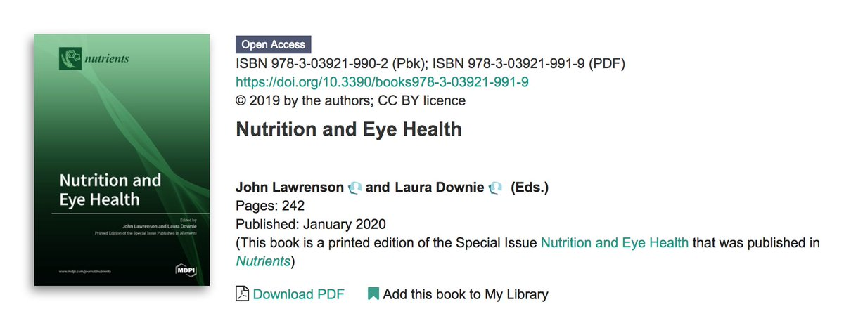 Our open access Special Issue Reprint Book on 'Nutrition and Eye Health' in @Nutrients_MDPI is now available online for free download: https://t.co/mJo1j82omJ Thank you to @jglawrenson for the opportunity to collaborate with you as co-Guest Editor. @UniMelbDOVS @unimelb https://t.co/tRfhsijBGu