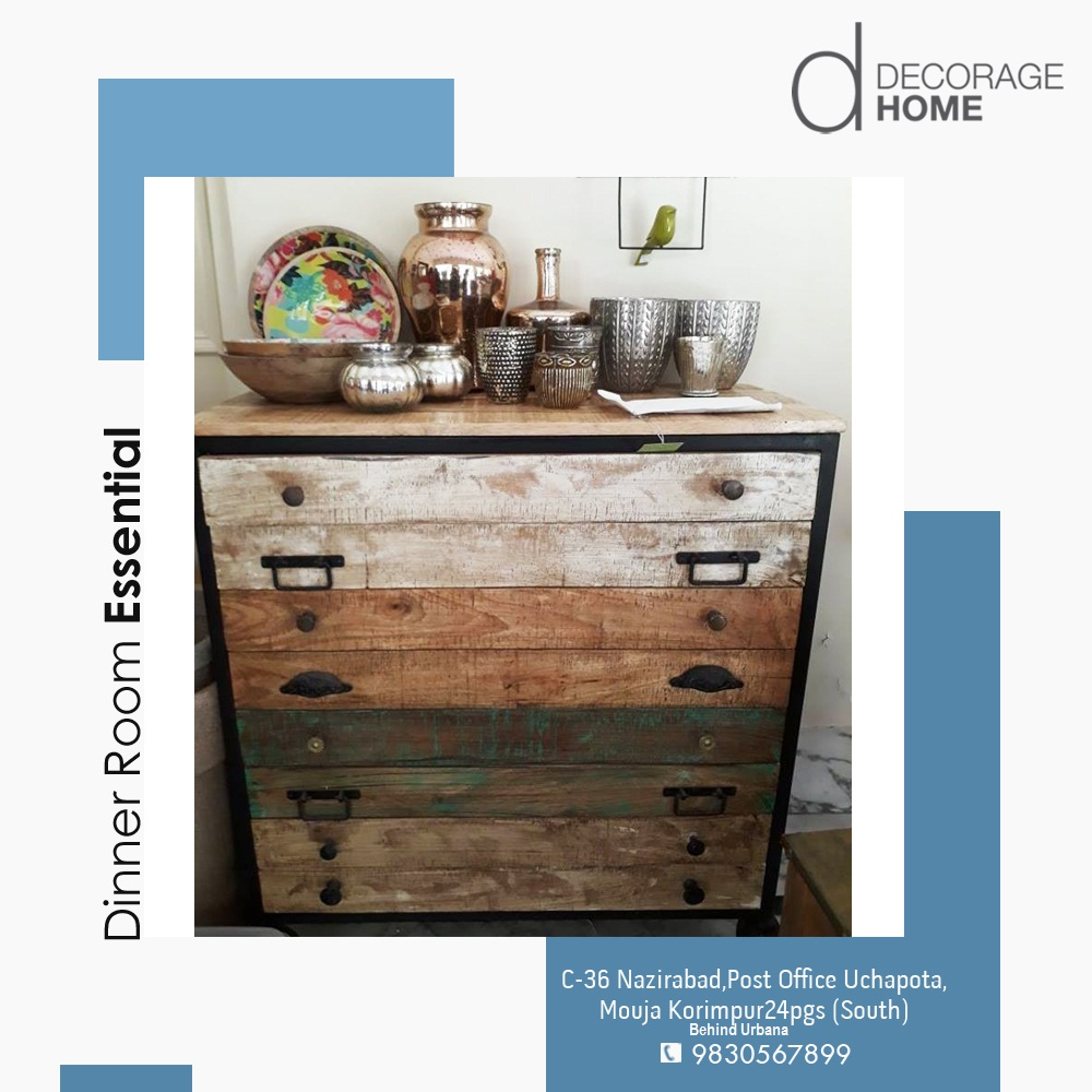 This chest of drawers with a distressed touch can be an amazing addition to your dinner hall, where you can store your cutlery and everyday nitty gritties, whereas the top can be used to display some of your vintage utensils. #DecorageHome #DistressedLove #Distressedfurniture pic.twitter.com/Vp4nVU4Vl3