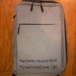 Image for the Tweet beginning: I got my @freeCodeCamp backpack!