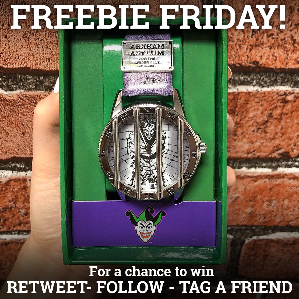 #FREEBIEFRIDAY! We're giving away this cool #Joker watch  To enter RETWEET this, FOLLOW us & TAG a friend   Enter on FB & IG for a higher chance of winning  Closes tomorrow at 12:30pm!  #DC merch   http:// emp.me/1h2t      T&Cs on our FB #competition <br>http://pic.twitter.com/yuQfY0809z