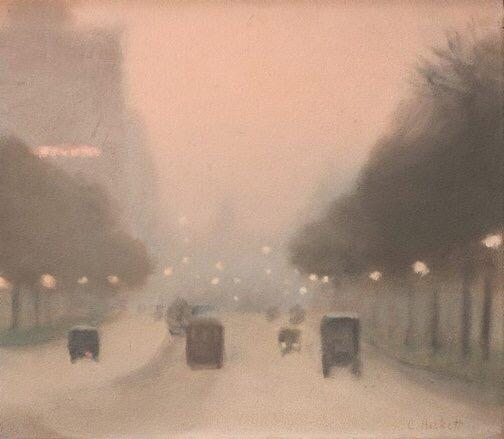 Evening, St Kilda Road,1930 by Clarice Beckett, Australian tonalist painter #womensart
