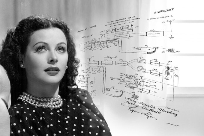 """Hedy Lamarr, an Austrian born Hollywood actress, was also a designer and inventor who created aviation designs for Howard Hughes and co-patented a """"secret communication system"""" #womensart"""