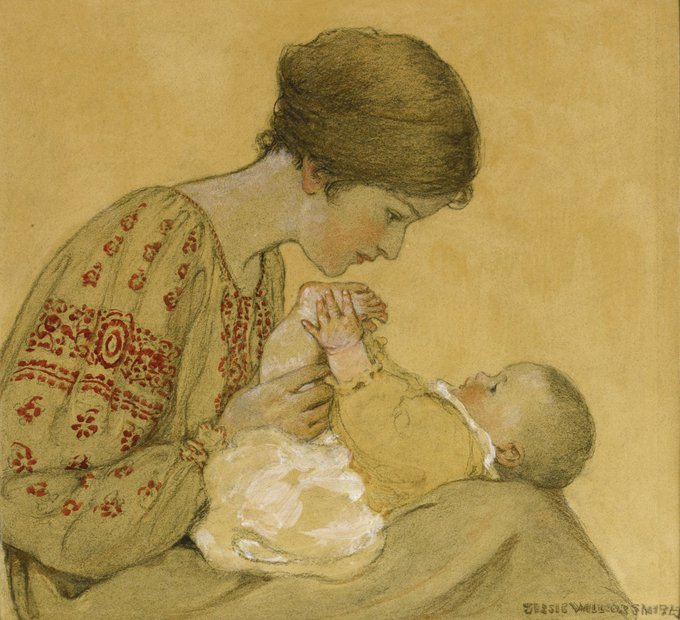 The Newborn by Jessie Willcox Smith (1863 - 1935), US illustrator during the Golden Age of American illustration who contributed to books and magazines during the late 19th and early 20th centuries #womensart