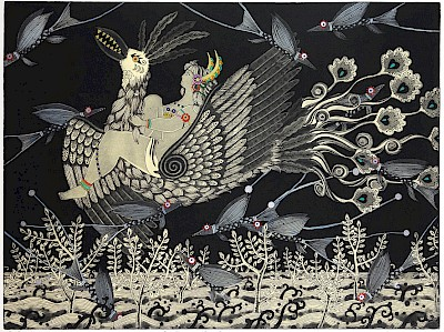 Mio Asahi, contemporary Japanese artist who creates artworks inspired by folklore often featuring strong women #womensart