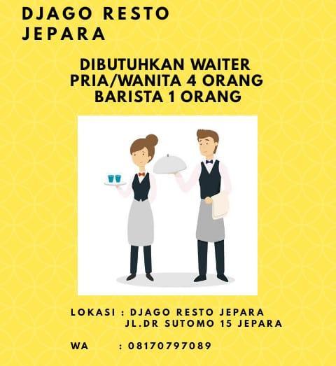Dibuka lowongan untuk waiters 4 orang & barista 1 orang di Djago Resto & Cafe Jepara Info lebih lanjut bisa wa 08170797089  #lowongankerja