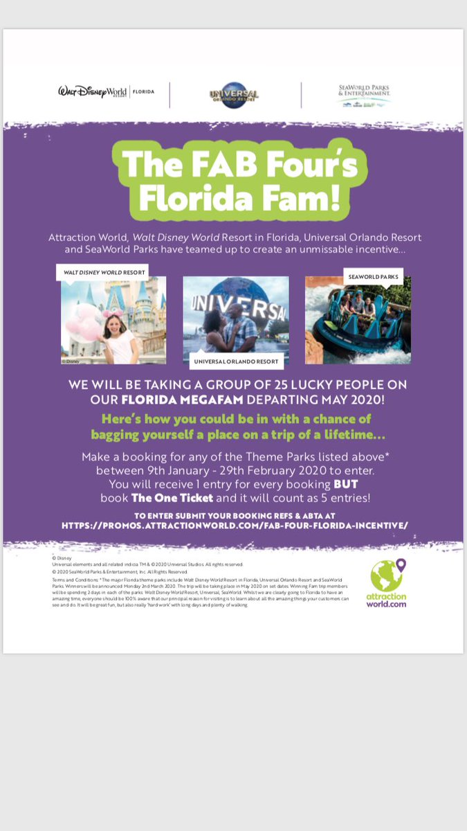 THE FAB FOUR'S FlORIDA FAM   Attraction World, Walt Disney World Resort in Florida, Universal Orlando Resort and SeaWorld Parks have teamed up to create this unmissable incentive! We will be taking 25 lucky people on our Megafam in May 2020! Details attached!! pic.twitter.com/KKpfCB7XHj