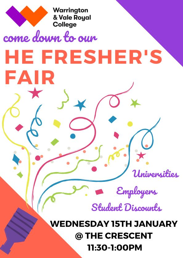 We're looking forward to hosting our Higher Education Fresher's Fair next Wednesday for all new students who have started with us this January.  There will be universities here, companies such as @LucozadeEnergy and student discount offers!   #WVRFreshersFair #Freshersfair