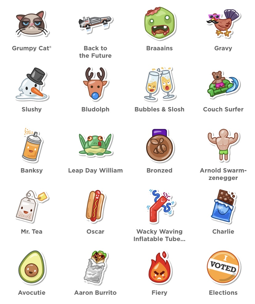 Creating the unlockable stickers for @Foursquare's @SwarmApp is still one of the most fun projects I've ever worked on. I think I've created over 200 of them by now, and I still haven't unlocked them all!  #illustration #stickers #icondesign