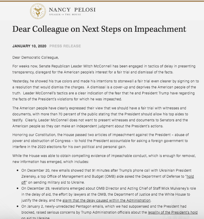 READ: Dear Colleague Letter from @SpeakerPelosi on Next Steps on Impeachment --> speaker.gov/newsroom/11020…