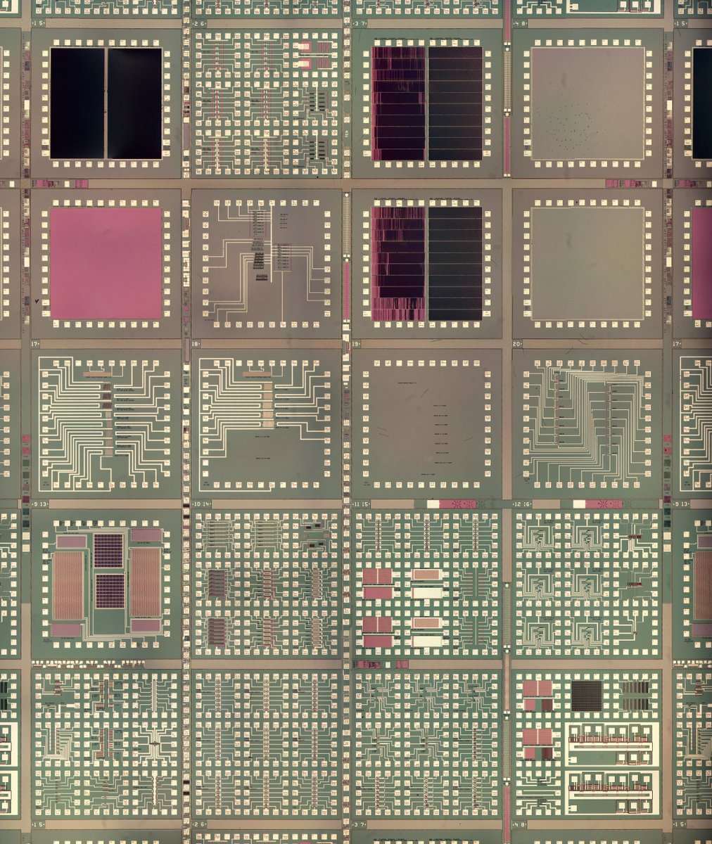 Unusual Dallas Semiconductor wafer is entirely test circuitry, with 20 test blocks repeated over the wafer. Everything from transistors of different sizes to flash memory cells. Not shown: resistors of many types, anti-fuses, capacitors, isolation, and other chip structures.