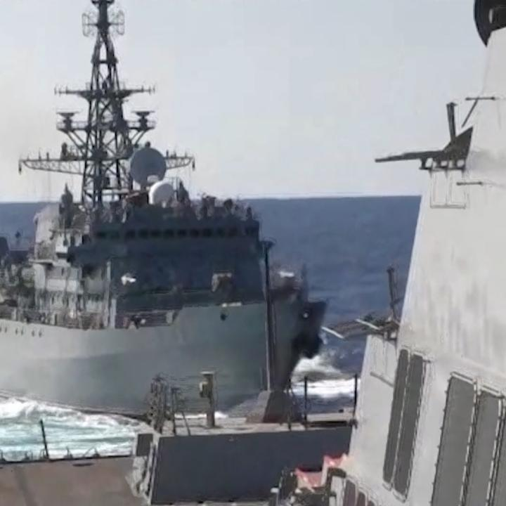 """Watch: An American warship was """"aggressively approached"""" by a Russian Navy ship in the North Arabian Sea  https://ti.me/2NfdiZ0"""