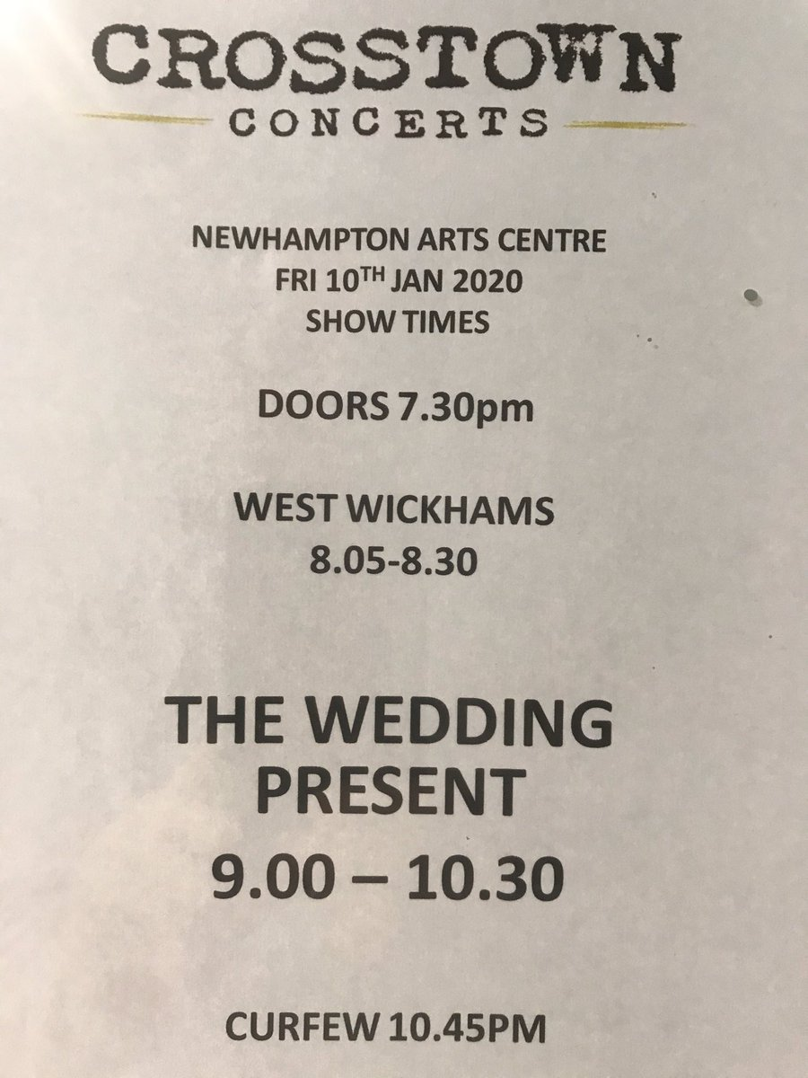 Showtimes tonight for @weddingpresent #wolverhampton #livemusic