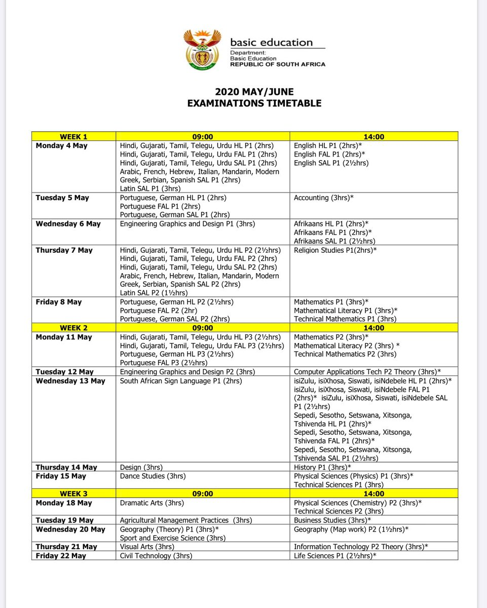 Elijah Mhlanga On Twitter Congratulations If You Passed Dbe Sa Matric But If You Didn T Meet The Minimum Pass Requirements Here Is The Time Table For The Rewrite Examination That Happens In May June Start