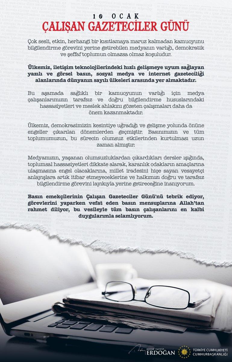 Basın emekçilerimizin #10OcakÇalışanGazetecilerGününü tebrik ediyorum.