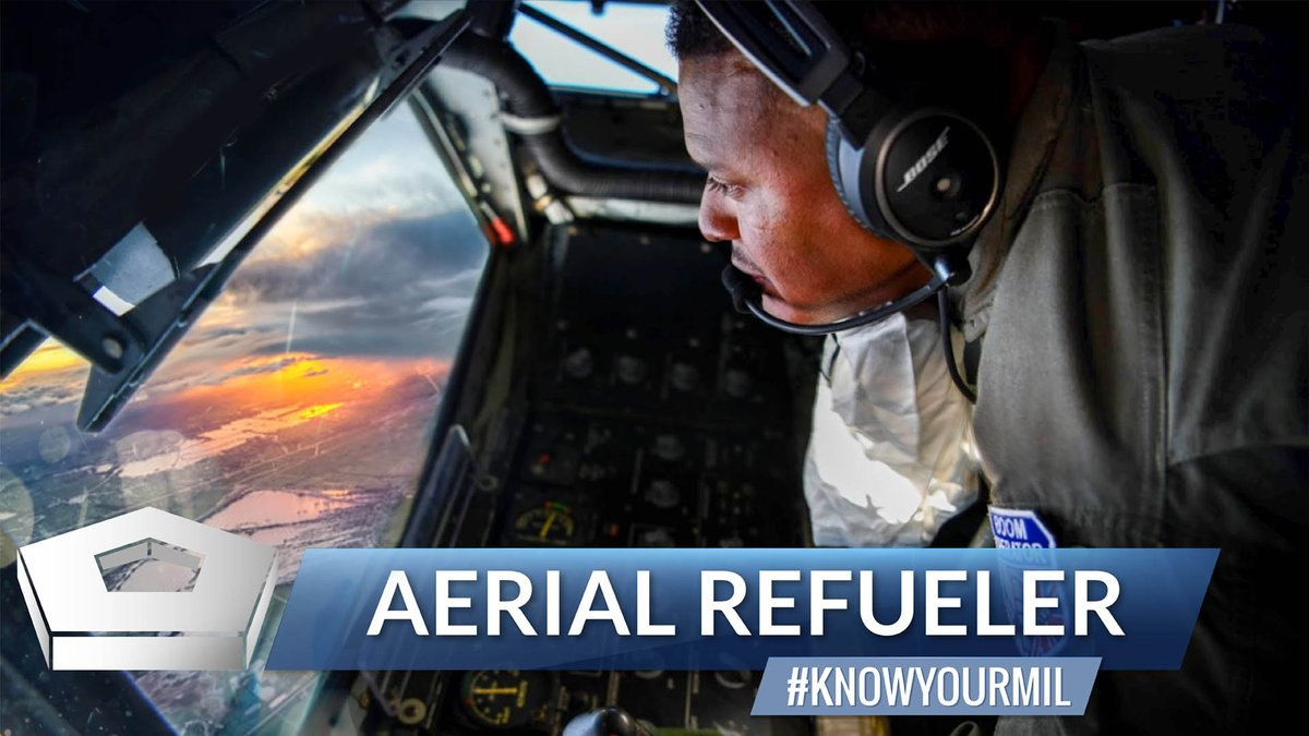 """If you want to get there as fast as possible, don't stop for gas. ⛽ That's why the @usairforce relies on airmen like Tech. Sgt. Nelson Germer. He's part of an aerial """"pit crew"""" that tops off aircraft ✈️ as they fly, so they don't have to land for fuel. #CoolJobs #KnowYourMil"""